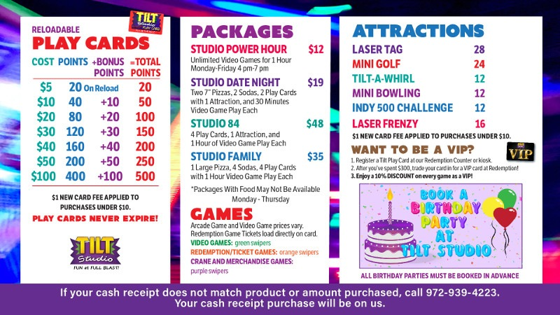 Tilt Studio Eastwood Price Menu
