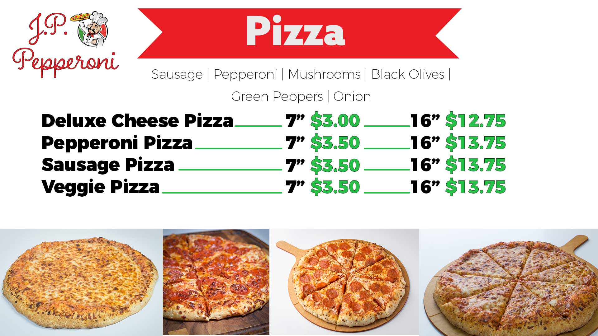 Eastwood Pizza Menu