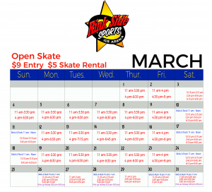 Rink Side March Ice Rink Calendar