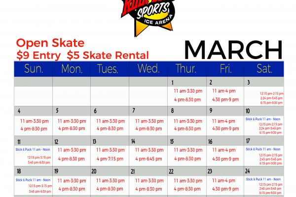 Rink Side March Ice Rink Calendar