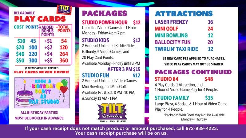 Tilt Studio Voorhees Price Menu