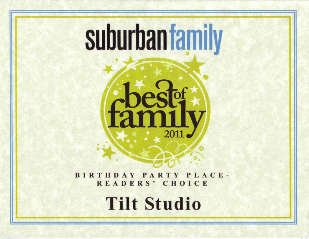 TILT Voorhees voted best birthday facility in 2011 by Suburban Family!